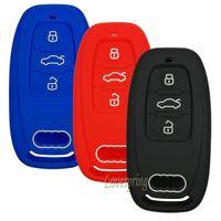 auto schlüssel fall schutz großhandel-3 Tasten Auto Key Fob Remote Cover Key Fall Haut Halter Protector Shell Keyless Für Audi A1 A3 A4 A5 A6 A7 A7 A8 Q5 Q7 R8