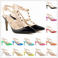 Wholesale Lace Up Womens Sexy Shoes - Sexy Pointed Toe Med High Heels Summer Womens Wedding Fashion Buckle Studded Stiletto High Heel Sandals Shoes