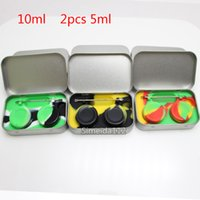 Wholesale Containers Sales - Hot sale 4 in 1 Tin Silicone Storage Kit Set with 2pcs 5ml Silicon Wax Container Oil Jar Base Silver Dab Dabber Tool Metal Case