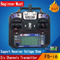 Wholesale Flysky 6ch Radio - Wholesale- 5pcs Flysky FS i6 2.4G RC 6ch radio Controller FS-iA6 Receiver with LCD screen For RC Helicopter Plane Quadcopter aircraft
