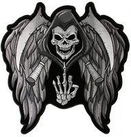 Wholesale Sew Skull Patches - Cool and Bold Reaper-Skull-Wings-Middle-Finger Embroidered Iron On Or Sew On Patch, Size 11.6*12 INCH Free Shipping