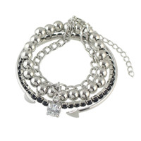 Wholesale Silver Bead Cuff Bracelets - Punk Rock Style Silver Color Chain with Rhinestone Beads Bracelets Cuff Bangles Multilayer bracelet New Coming