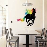 Discount horse murals for bedrooms - SK9054 Running Horse Wall Sticker 3D Colorful Horse Tail Wall Decals Animals Art Mural Poster Home Decoration