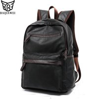 Wholesale Western Style Leather Bags - Wholesale- BAIJIAWEI 2017 New Arrival Oil Wax PU Leather Backpack For Men Western College Style Bags Men's Casual Backpack & Travel Bags