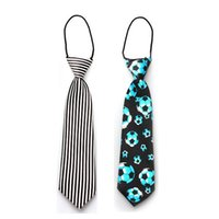 Wholesale Student Neckties - Wholesale- Baby Kids Necktie Neck Ties Children Elastic Rubber Band Football Printed Students Ties Kids Accessories Free Shippnig