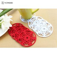 Wholesale Christmas Tree Snowflakes Decorations - Wholesale- 10 pcs lot Snow Coasters For Christmas Decoration for home Snowflake Insulation Coasters Table Dcorative Coasters