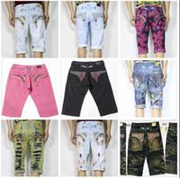 Wholesale Tide Male Jeans Fashion - brand Robins short jeans men tide summer designer robin jeans for men male true biker fashion short robin rock revival jeans 18 styles