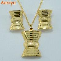 Wholesale Tungsten Key Pendant - Anniyo Vintage Greek Fret set Jewelry Key-Pattern Pendant Necklace Earrings Gold Color Jewelry African Wedding #000718