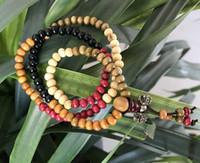 ingrosso legno buddista-Bracciale catena di legno Collana Bracciale buddista perline di legno Legno di sandalo Link per perle da 6 mm