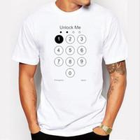 Wholesale T Shirt Design Army - 2017 Summer Design Funny Unlock Men T shirt Phone Screen Top Tee Shirts 100% Cotton Men's Tshirt