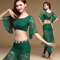 Wholesale Dance Costumes Leggings - New Belly Dance Costumes For Women 2Pcs 3Pcs Lace Top&Skirt&Waist Chain Blir-In Leggings Baile Latino Indian Dance Costumes DQ1112