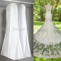 Wholesale Photo Coating - Hot Classic Plus Size White Dust Bag Cover with Photo Pocket Dress Bags Wedding Accessory Garment Cover Travel Storage Dust Coat EllaBridal