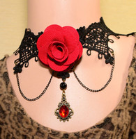 Wholesale Ladies Chockers - FREE SHIPPING Crusader Corss Necklace Women Big Flower Stone Pendant Chockers Lady Lace Chains Tassel Necklaces 10PCS