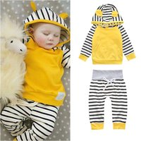 Wholesale pink hoodies for boys for sale - Group buy Baby clothes Outfits for Girl Hoodies Pant set Striped Cute ears Spring Autumn Girl boy clothes Cotton Long sleeve New