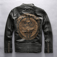 Wholesale Motorcycle Laser - AVIREXFLY Man Vintage motorcycle jacket First layer of genuine leather laser Painted Cranial skeleton Men's locomotive coats