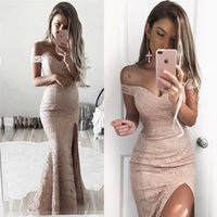 Wholesale Modest Cheap Evening Dresses - 2017 Modest Sheath Full Lace Prom Dresses Vestidos Off The Shoulders Formal Evening Dresses Cheap Side Split Evening Gowns BA6243