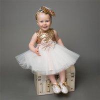 Wholesale Big Fluffy Wedding Dresses - Free Shipping Baby Girl Christmas Princess Party Dress Kids Sequined Big Bownot Lace Tutu Dress Kids Fluffy Wedding Dress