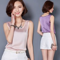 Wholesale Silk Blouse For Summer - Women Blouses Summer Tops Blusas Solid color all-match Silk Blouse Plus size Casual Shirts For Women