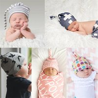 Wholesale New Hats Era - Newborn Baby Cotton hedging cap hats Girl Soft earflap newborn kids photography props New Lovely plaid Clench cap era cap 0-6M BH11