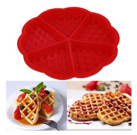 Wholesale Waffle Heart Shape - Heart Shape Waffle Mold Maker 5-Cavity Silicone Oven Pan Microwave Baking Cookie Cake Muffin Cooking Tools