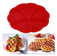 kalp silikon kek pan kalıp toptan satış-Kalp Şekli Waffle Kalıp Makinesi 5-Cavity Silikon Fırın Pan Mikrodalga Pişirme Çerez Kek Muffin Pişirme Araçları