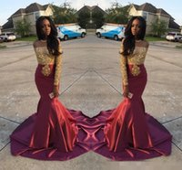 Wholesale Charming Girl Picture - Charming African Style Off Shoulder Prom Dresses 2017 Gold And Burgundy Evening Gowns For Black Girls Long Sleeve Sweep Train Formal Dresse