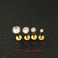 Wholesale nails studs online - Crystal CZ gem Lip Stud Gold Labret Tragus Earrings L Stainless steel Zircon lip nail medical steel nails round mm mm mm