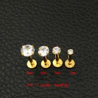 bolzen 2mm großhandel-Kristall CZ Edelstein Lip Stud Gold Labret Tragus Ohrringe 316L Edelstahl Zirkon Lippennagel medizinische Stahlnägel rund 2mm 3mm 4mm