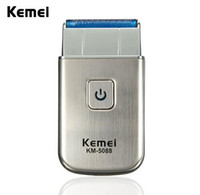 Wholesale Electric Travel Razors - Modern Kemei KM-5088 Mini Portable Men's Electric USB Rechargeable Cordless Beard Shaver Razor Travel