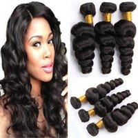 Couleur naturelle Virgin Brazilian Hair Loose Wave 3 Bundles Mix Longueur 8inch à 30inch peruianien malais Indian Remy Hair Weave