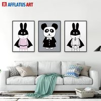 Wholesale Cartoon Pictures For Kids Room - 3 Pieces Minimalism Panda Rabbits Wall Art Print Poster Abstract Wall Oil Picture Canvas Painting For Living Room Kids Room Home Decor
