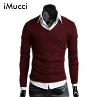 Wholesale California Fashion Men - Wholesale- Autumn Fall Men's Knit Sweater Thick Plush Wool California V-neck Sweater Bottoming 4 Size 6 Colors Free Shipping