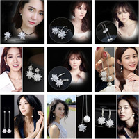 Wholesale Ladies Sterling Silver Earrings - 2017 high quality new lady earrings, 925 sterling silver earrings, floral crystal jewelry, fashion jewelry wholesale