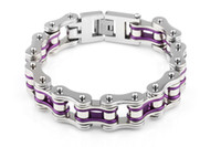 Wholesale Bicycle Link Bracelet - Silver & Purple Cool 16mm Wide Bike bicycle Motorcycle Chain 316L Stainless steel Bracelet for Harley Biker Titanium steel bangle jewelry