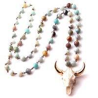 Wholesale cluster stone necklace - Free Shipping Natural Stones statement necklaces Bohemian Tribal Jewelry Horn Pendant Necklace