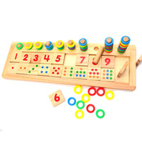 Wholesale Montessori Rainbow rings dominoes children preschool teaching aids counting and stacking board wooden Mathematics puzzle toys