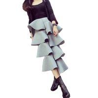ingrosso abito di marca coreano-Gonna lunga 2016 del nuovo di zecca della torta del pannello esterno delle donne del cotone dell'increspatura vestito lungo irregolare di colore solido casuale irregolare del vestito