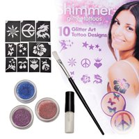 Wholesale Glitters Tattoos Stickers - Temporary Professional Glitter Tattoo Shimmer kit Body Art Sticker Glitter Face Paint Stencils Henna With Stencil Glue ZA2786