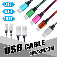 Wholesale Data Sync Cable 3m - 1M 2M 3M Micro USB Cable Colorful Braided V8 Cable Data Sync USB 3FT 1M 2M 6FT 3M 10FT For Type C Charger Adpater New Macbook 12 Inch