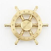Wholesale steering spinners - Pure Brass EDC Helmsman Fidget Spinner Hexagonal Rotating Hand Spinner Metal Steering Wheel Finger Toy ForFor Autism and ADHD Kids Adult