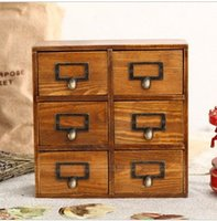 Wholesale Vintage Storage Cabinets - Six Box Vintage Home Decor Wooden Drawer Organizer Storage Box Cabinets Vintage Wood Wooden Drawers 26*10*26cm