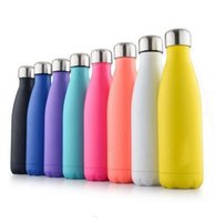Wholesale Green Eco Walls - Cola Shaped Insulated Double Wall Vacuum high-luminance Water Bottle 17oz 500ml Creative Thermos bottle Vaccum Insulated DHL free wn111
