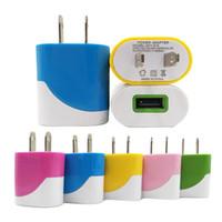 mobile ladegeräte farben großhandel-Dual Colors 5V 1A USB US EU Stecker Netzteil Ladegerät für alle Handys Tablet Ipad Apple Samsung Galaxy
