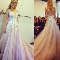 Wholesale wedding fairytale - 2017 Fairytale Cathedral Beach Wedding Dresses V Neck Sleeveless 3D Floral Appliques Tulle Long Skirt Sexy Backless Bridal Dresses