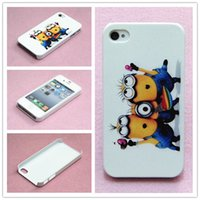 Wholesale Despicable Hard Case Iphone - Many Style Cute Cartoon Despicable Me Minions Stylish Pattern Hard Back Cover Case Skin For iphone 4 4S case Free Shipping