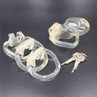 Wholesale Male Chastity Pink - New design magic lock male chastity cage 48mm length plastic cock lock pink chastity cage 4 snap rings in 1 set