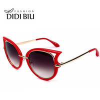 Wholesale sexy women military - DIDI Cat Eye Sexy Red Sunglasses Women Reflective Sun Glasses White Glasses Military Alloy Uv400 Driving Eyewear Cat Goggles Top Brand W252