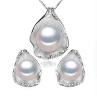 ingrosso la collana stabilisce i disegni-Monili liberi della perla di trasporto, insieme dei monili del pendente della perla per le donne Collana della perla / insieme dei monili di cerimonia nuziale dell'orecchino, disegno del pendente di Shell