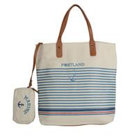 anker blau handtaschen großhandel-Anchor Strandtasche Composite-Leinwand Frau Handtasche Damen Meer Reisetasche Blaue Streifen Casual Totes Schultertaschen Tote Hohe Qualität HD70114