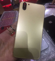 Wholesale Framed Glass Doors - For iPhone X Style Back Housing Glass Back with Metal Frame Battery Door Replacement for iPhone 6 6S 6Plus 6S Plus